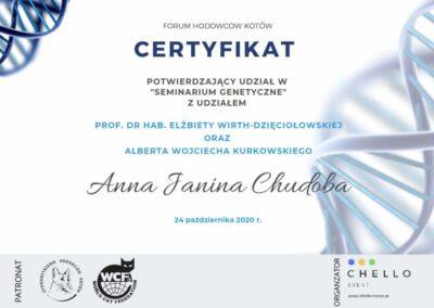 Certyfikat Seminarium genetyczne